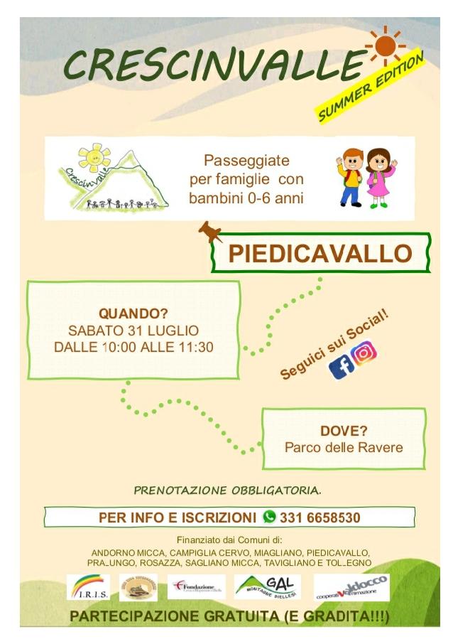 Crescinvalle, il progetto di Consorzio IRIS che porta i bambini a spasso per la Valle Cervo, fa tappa a Piedicavallo per l'estate 2021.